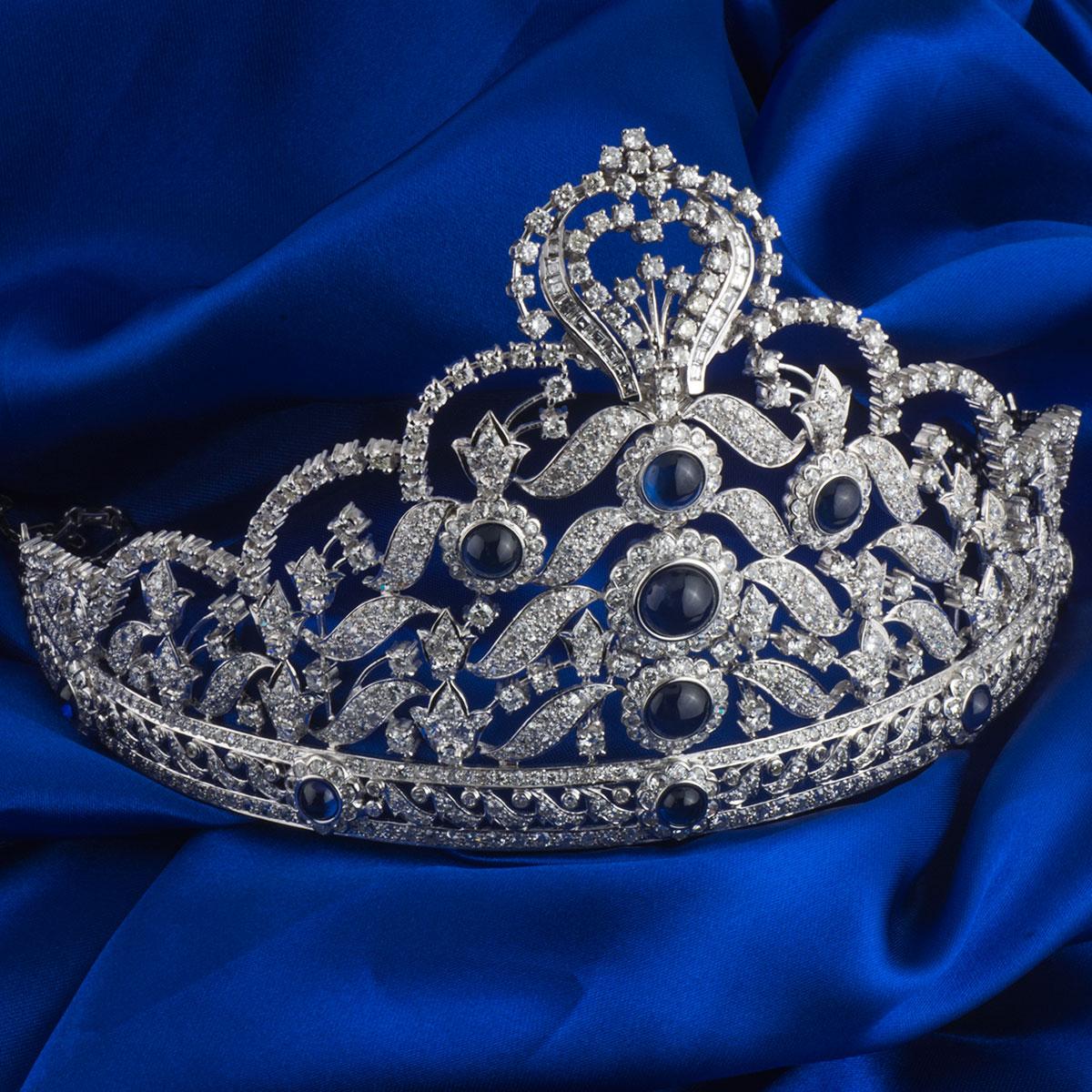 White Gold Diamond and Sapphire Tiara